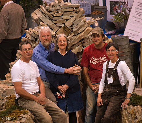 Some of the volunteers who helped create the walls at the Peterborough Show