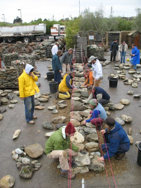 Dry stone wall workshop in progress which was recently run at American Soil near San Francisco